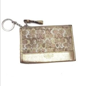 Coach Gold Silver Sig. Textile Leather Key Case